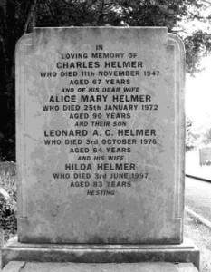 1206 2826 hw gravestone Charles, ALice Len and Hilda  Helmer b&w smaller